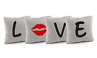 """Подарочные подушки с вышивкой """"L*ve"""" флок/ подушка сувенирная подарочная"""