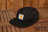 Модная стильная бейсболка пятипанельная кепка кархат Carhartt черная реплика
