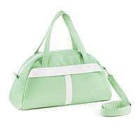 Сумка Sport светло зеленая с белым флай/ спортивная сумка через плечо кожзам