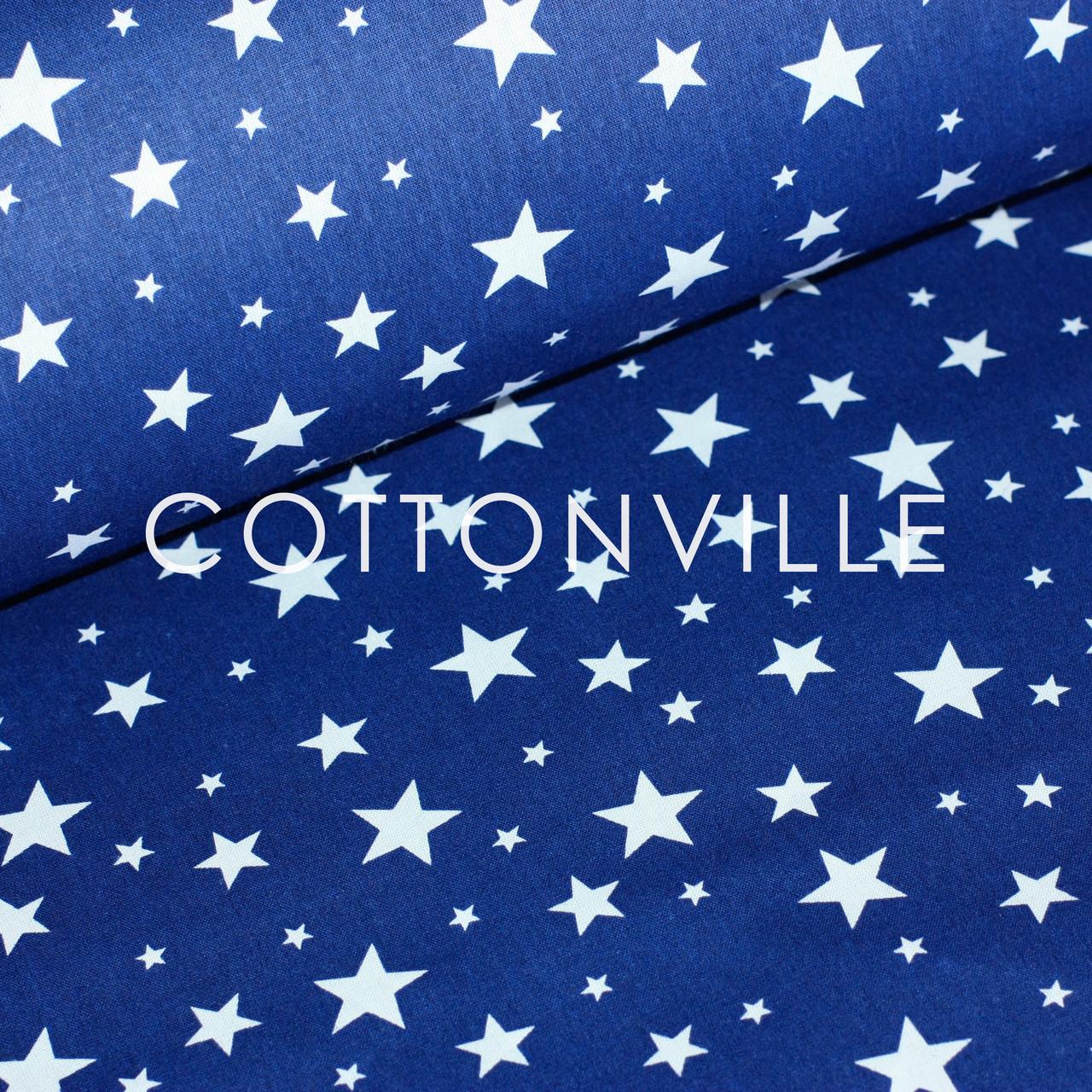 ✁ Отрезы хлопковой ткани Звездная россыпь белая на синем