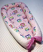 Гнездышко кокон babynest  для новорожденного совы на розовом