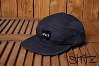 Модная стильная бейсболка пятипанельная кепка хаф хуф HUF темно синяя реплика, фото 1