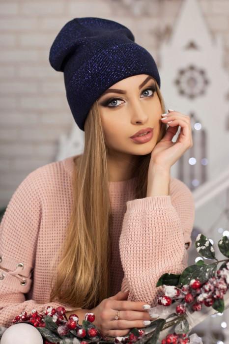 Женская шапка-колпак «Лори» Джинсовый+фиолетовый