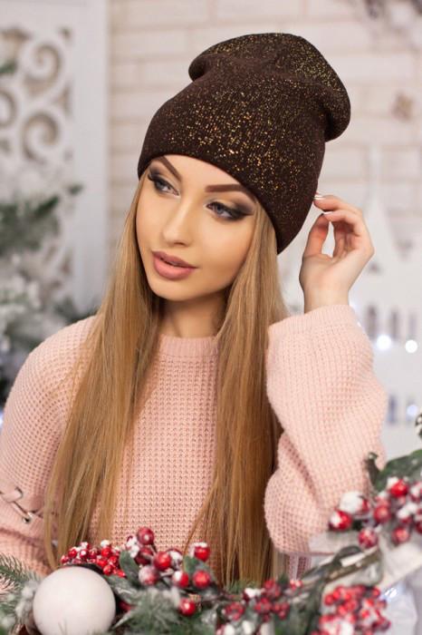 Женская шапка-колпак «Лори» Коричневый