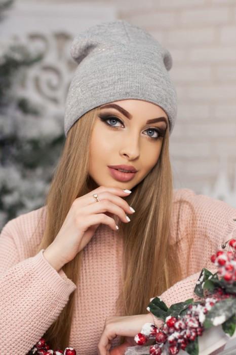 Женская шапка-колпак «Лори» Светло-серый