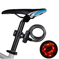 ROCKBROS Велосипедный кабель Замок с байковым задним светом Водонепроницаемы USB аккумуляторная велосипед Анти Theft Замокs