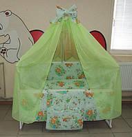 Полный комплект постельного белья с кроваткой. 17 предметов! Кроватка с ящиком, матрас, сменка