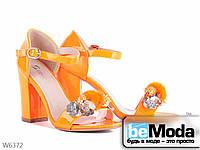Женские босоножки с закрытой пяткой лаковые Girnaive оранжевые