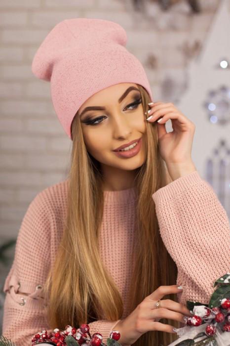 Женская шапка-колпак «Лори» Пудра