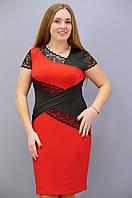 Мадлен Сукні великих розмірів червоний 50 52 54 56 58 60 62 64 дайвінг  мережево 294baa7d587ce