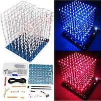 DIYSquare8x8x83DLightElectronic Cube Набор Blue КрасныйLED Spectrum Board