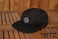 Молодежная реперская пятипанельная кепка бейсболка стон айслэнд Stone Island черная реплика, фото 1