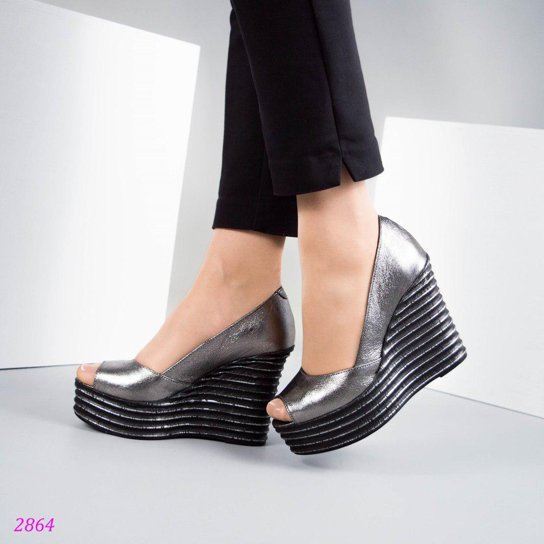 f54630fb9835 Женские летние туфли-босоножки на платформе.никель.Натуральная кожа ...