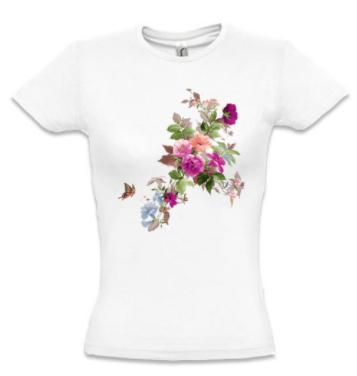 Женская футболка с ЦВЕТАМИ И БАБОЧКОЙ, фото 2