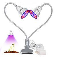 60WDualHeadPlantLedGrow Light Bulb Clip Desk Регулируемый рост Лампа Для Сад Крытый бонсай