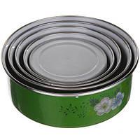 Набор круглых судочков с крышкой A-PLUS 5 шт. (0961) Зеленый