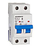 Автоматический выключатель (МСВ), AMPARO, хар.В 16А, 6 кА, 2-п.