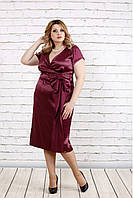 Женское Бордовое атласное платье | 0768-1 (42-74)