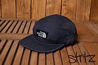 Крутая унисекс пятипанельная кепка реперская бейсболка топ качество тнф TNF The North Face темно синяя реплика