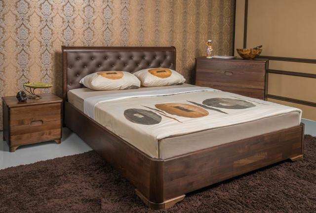 Кровать полуторная Милена Премиум с подъемным механизмом, изголовье ромбы