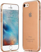 Ультратонкий TPU чехол с заглушками G-Case  для iPhone 7 Transparent Gold