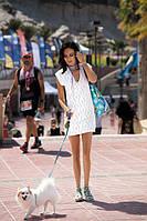 Женская пляжная короткая туника ажурная прозрачная платье белый голубой парео Feba F60 473 474 452