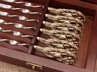 """Шампура с бронзовыми ручками """"Соколиная Охота"""" в кейсе из натурального дерева"""