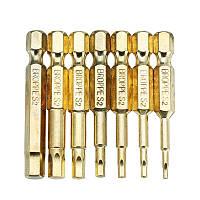 BROPPE 7Pcs Gold 50mm 1.5-6.0mm Магнитная шестигранная головка Отвертка Биты 1/4 дюймов Hex Shank Отвертка - 1TopShop