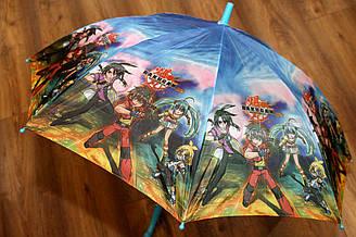 Детский зонт трость полуавтомат с рисунком героев мультсериала Bakugan (Бакуган)