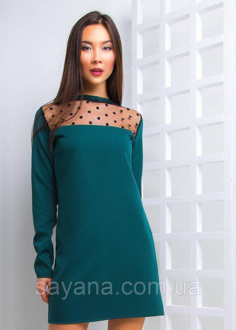 286040edf567 Женское платье свободного силуэта со вставкой сетка - горох, в расцветках -  Оптово-розничный