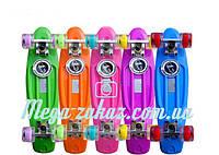 Пенни борд фиш со светящимися колесами (penny board) Fishskateboards: 5 цветов, до 80кг, фото 1