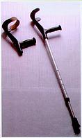 Костыль с локтевой опорой, простой и вариант опоры с кожаным фиксатором