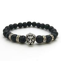 "Тибетский браслет из бусин ""Лев с камнями лава Black"""