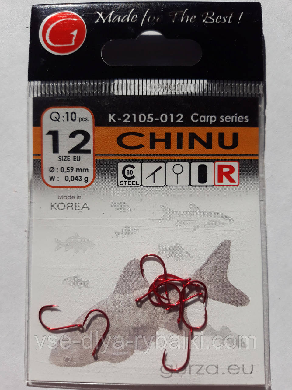 Крючки Gurza chinu red № 12