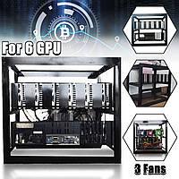 DIY Шахтер Майнинг Чехол Радиальная шахта Minar Rig Чехол W/3x для 6 GPU ETH BTC Ethereum