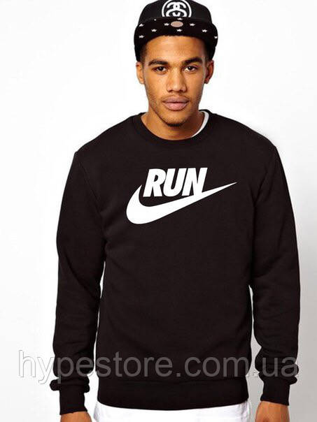Свитшот, кофта, реглан Nike Run (черный), Реплика