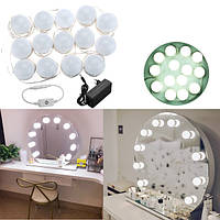 Голливудский стиль 14Bulbs White LED Фонарь зеркало заднего вида Набор+Переходник питания EU+Диммер