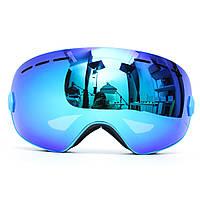 Профессиональные лыжи мотоцикл Сноуборд Лыжные очки Анти Туман УФ Двойной Объектив Синий