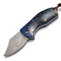 ДамаскШведскийпорошковыйстальнойкленЛист Ручка Мини карманный складной нож EDC На открытом воздухе Нож