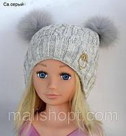 Красивая вязаная шапка для девочки на зиму , фото 1
