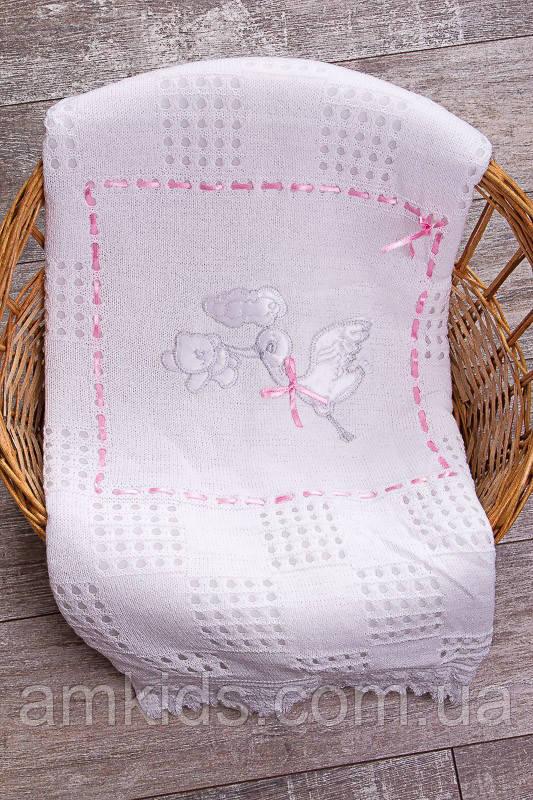 детский вязаный плед для новорожденного аист белый с розовой