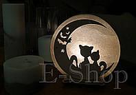 """Соляная лампа, ночник """"Коты на луне"""""""