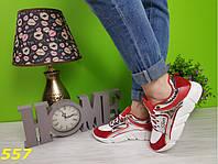 Кроссовки красные с серебром очень легкие, фото 1