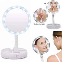 Компактное зеркало круглое с подсветкой с увеличением для макияжа My Fold Away Mirror, фото 1