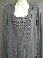 Пуловер  женский из кашемира темно-серого  цвета со вставкой