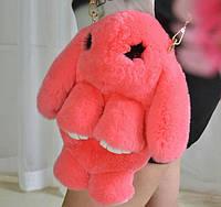 Стильная сумка-рюкзак-игрушка КРОЛИК из натурального меха 33-03