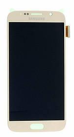 Дисплей (экран) Samsung G920F Galaxy S6 with touch screen (с тачскрином в сборе) ORIG, gold (золотистый)