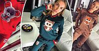Женский спортивный костюм на флисе с плюшевым принтом, женские трикотажные костюмы оптом от производителя