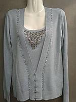 Пуловер  женский из кашемира светло-серого  цвета со вставкой