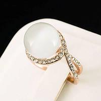 Богатое кольцо с кристаллами Swarovski, покрытое слоями золота 0755 19 Белый